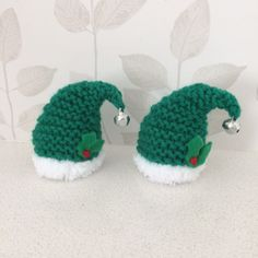 Excited to share the latest addition to my shop: Hand knitted Christmas Elf hat covers for ferrero rocher chocolate Knitted Christmas Decorations, Easy Christmas Ornaments, Christmas Wall Hangings, Christmas Makes, Christmas Snowman, Simple Christmas, Christmas Crafts, Xmas Decorations, Christmas Ideas