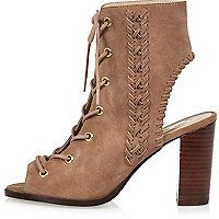 Dusky pink suede lace-up heeled shoe boots - sandals - shoes / boots - women