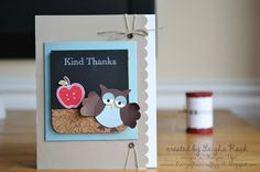 More Teacher Thank You Cards and Gifts Up Teacher, Teacher Appreciation Cards, Teacher Thank You Cards, Teacher Gifts, Owl Punch Cards, School Days, School Stuff, School Scrapbook, Owl Card