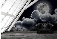 Full moon cloudy sky black & white wallpaper murals by Homewallmurals