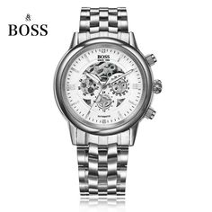 BOSS Germany watches men luxury brand skeleton Malibu series three hollow automatic mechanical watch golden