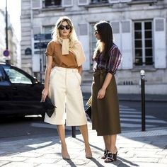 Culottes all around - white pair with a camel t-shirt & olive green with a plaid blouse