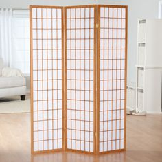 Simora Shoji 3 Panel Room Divider with Optional Stand - A perfect balance of casual style and practical function, the Simora Shoji 3 Panel Room Divider with Optional Stand can split a larger room into two...