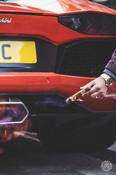 Rolex 1680/8 Submariner Lighting a cigar with the Aventador.