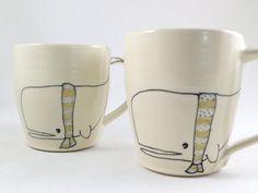 Whale Mug  Handmade Ceramic Mug  Whale with Scarf by abbyberkson, $34.00