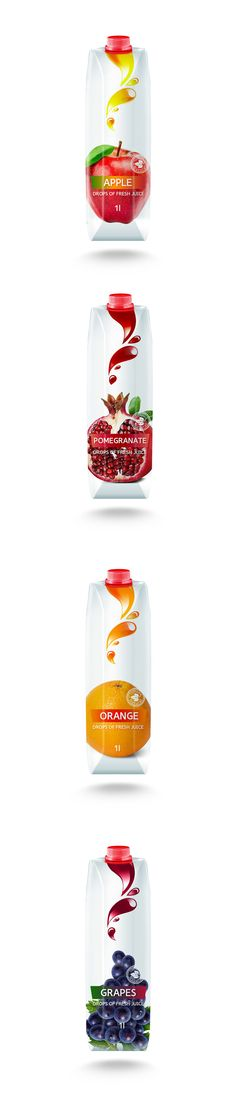 This concept of packaging design for natural juices. Juice Packaging, Food Packaging Design, Pomegranate, Branding, Drop, Apple, Concept, Natural, Behance