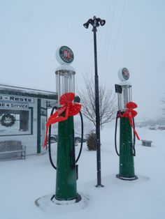 Festive vintage gas pumps at the restored Polo Resto station in De Pere, Wisconsin