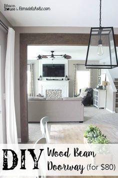 Rustic DIY Wood Beam Doorway -- no major contruction or demolition, all for $80! How to add a wood beam doorway. Budget friendly wood beam doorway. Adding a wood beam doorway. Home Renovation, Home Remodeling, Diy Wood Stain, Diy Home Decor Rustic, Faux Wood Beams, Ideias Diy, Up House, Home Interior, Interior Decorating