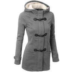 Knitted Hooded Zipper Horn Button Long Trench Coat //Price: $31.99 & FREE Shipping //     #shop