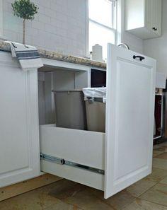 hidden trash and recycle bins, kitchen cabinets, kitchen design, storage ideas