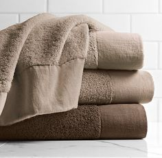 Linen-Bordered 650-Gram Turkish Towel Collection - Dune