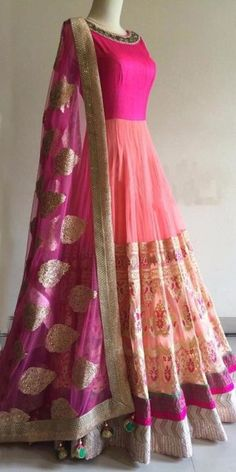 Astounding Pink And Orange GeorgetteAnarkali With Dupatta.