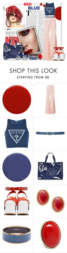 """Red, White & Blue: Celebrate the 4th!_Red, White and Blue Fun with Stripes"" by msmith801 ❤ liked on Polyvore featuring GALA, Smith & Cult, Rosie Assoulin, Topshop, M&Co, Armani Jeans, Miu Miu, Kenneth Jay Lane, Hermès and Fantasy Jewelry Box"