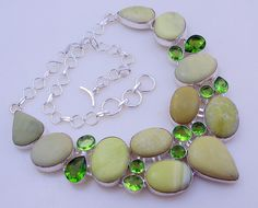 free shipping F-146 stunning Serpentine Jade -Peridot .925 Silver Handmade Jewelry Necklace by SILVERHUT on Etsy