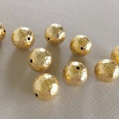 Gold Plated Brass Bead Hammered Gold Beads by bitpartjewelry Hammered Gold, Brass, Copper, Small Envelopes, Stone Chips, Gold Beads, Gold Jewelry, Plating, Jewelry Making