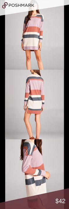 NEW ARRIVAL-Striped Sweater Tunic This sweater has the perfect pop of color for Fall!!!! Lightweight *STRIPE PATTERN VARIES Material:95% Polyester 5% Spandex  Fit: Runs True to Size  Size:  MADE IN THE USA Tops Tunics
