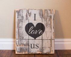 Pallet Wood Sign Rustic Chic Decor Distressed Wood Signage Shabby Chic Decor Love Sign Black White Wall Art Handpainted I Love Us Sign