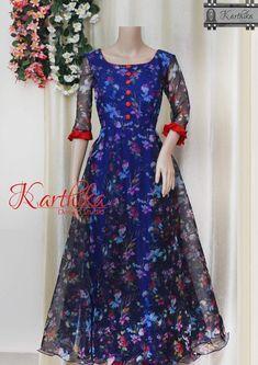 Best 12 floral organza long gown call or whatsapp at 09483056990 Salwar Designs, Kurti Designs Party Wear, Long Dress Design, Dress Neck Designs, Frock Design, Designer Anarkali Dresses, Designer Dresses, Designer Wear, Frock Fashion
