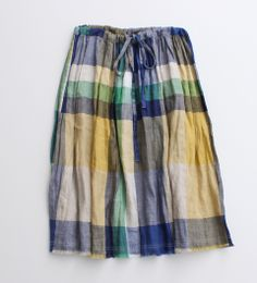 リネンチェック ギャザー切りっぱなしスカート