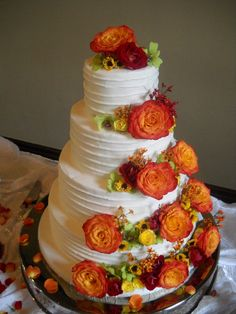 A beautiful fall wedding cake by DonnaOK on Cakecentral.com