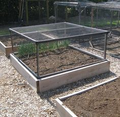 "With Fall planting right around the corner, it was time to re-cover my raised bed ""defense system"".  -   This might be an interesting idea to keep the critters out.  I think I'll use a wider gauge screen that will allow the bees in, but keep the bunnies and squirrels out."