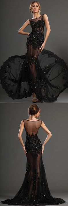 Black Jewel Beading Crystal Sleeveless Sheath Sheer Backless Sexy Sweep Train Tulle Evening Gowns