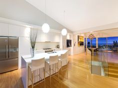 Art deco dining room idea with carpet & ceiling skylight - Dining Room Photo 104468