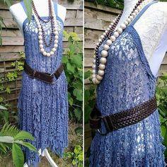 Maxi Robe bohème romantique dentelle crochetée vintage. Robe hippie style Stevie Nicks, robe poncho festival. Robe bleue denim, Gypsy Boho. de la boutique PinkWaterShop sur Etsy