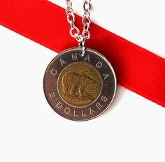 Polar Bear Necklace Canadian Coin Pendant 1996 2 Dollars Upcycled Handmade Jewelry by Hendywood - Hendywood