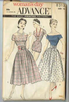 I remember my mom having these  patterns stored in her sewing machine drawers in the 1970's when I was a teenager. It would be neat to still have them. Advance 8313 playsuit & skirt
