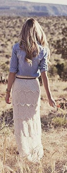 Gorgeous fashion style with lace maxi skirt and chambray blouse. Bohemian rapsody boho country girl southern style