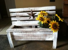 Primitive Country Flower box bench on Etsy, $59.99