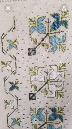 Hesap işi Cross Stitch Boarders, Cross Stitch Art, Cross Stitch Embroidery, Palestinian Embroidery, Beaded Cross, Bargello, Baby Knitting Patterns, Blackwork, Cross Stitch Patterns