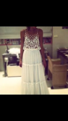 Dress: lace, indie, boho, boho chic, prom dress, maxi dress, white ...