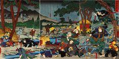 Karaki Masaemon fighting against opponents with spears.