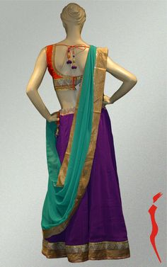 Purple chiffon skirt with sequence work worn with orange cotton silk blouse comes with contrast cotton dupatta.