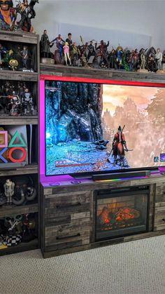 Computer Desk Setup, Gaming Room Setup, Pc Setup, Game Room, Man Cave, Video Games, Interior Design, Deco, Anonymous