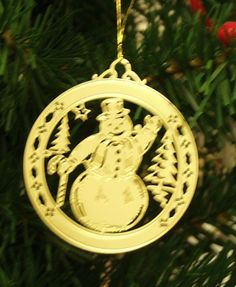 Personalized Snowman High Polished Brass Custom Christmas Ornament #christmasornaments #personalizedchristmasornaments