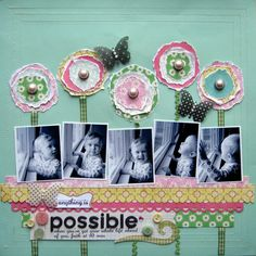 make flowers using 7 pieces of paper, rip them into various circle shapes, layer 3 together and embellish with center (button, rhinestone, pearl, etc...).  Used ribbon for stem.