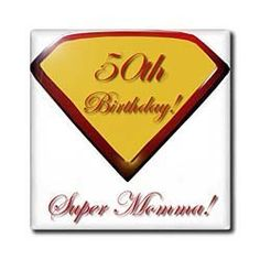 """50th Birthday Super Momma - 12 Inch Ceramic Tile by Edmond Hogge Jr. $22.99. Dimensions: 12"""" H x 12"""" W x 1/4"""" D. Clean with mild detergent. High gloss finish. Image applied to the top surface. Construction grade. Floor installation not recommended.. 50th Birthday Super Momma Tile is great for a backsplash, countertop or as an accent. This commercial quality construction grade tile has a high gloss finish. The image is applied to the top surface and can be cleaned wit..."""
