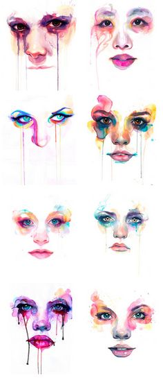 Marion Bolognesi - uses watercolour paints to express emotions in her drawings of eyes.