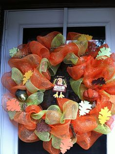 Thanksgiving Wreath created November 2012 Please like my Facebook page at MandeMade4Y'all