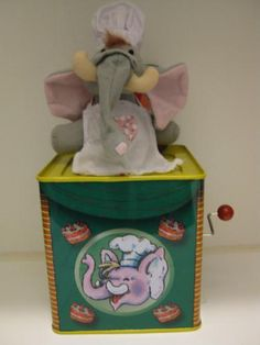 Old Tin Toys -  Elephant Jack in The Box