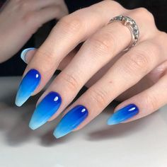 Here are the 10 most popular nail polish colors at OPI - My Nails Summer Acrylic Nails, Best Acrylic Nails, Blue Nail Designs, Acrylic Nail Designs, Stylish Nails, Trendy Nails, Blue Ombre Nails, Black And Blue Nails, Fabulous Nails