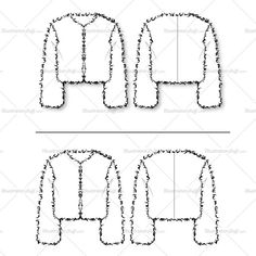 Long sleeve fur chubby jacket. Cropped jacket. One sketch has a drop shadow for presentation boards and the other sketch has none in case you don't want the sha