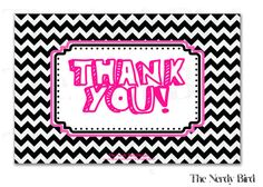 Black and White Chevron Pink Printable Baby by TheNerdyBird1, $5.00