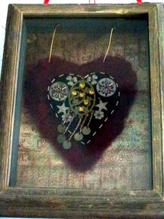 felted heart in shadow box