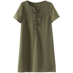 Military Green Plunge Lace Up Front Short Sleeve Dress ($26) ❤ liked on Polyvore featuring dresses, army green dress, lace up dress, olive green dress, short dresses and laced dress