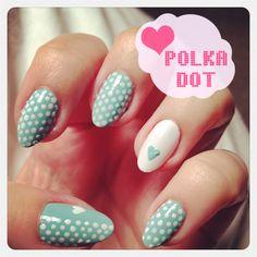Vintage green polka dots and heart nail art