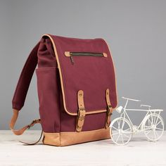 Laptop backpack for Womens. Waxed cotton and leather. made for 15 inch laptops.